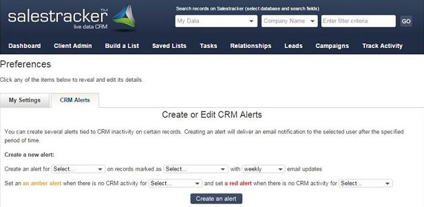 Salestracker CRM Alert Feature