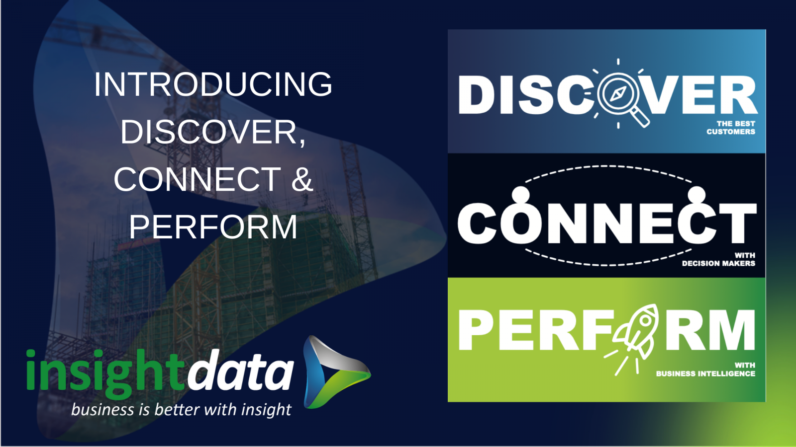 INTRODUCING DISOCVER, CONNECT AND PERFORM card representing Insight Data